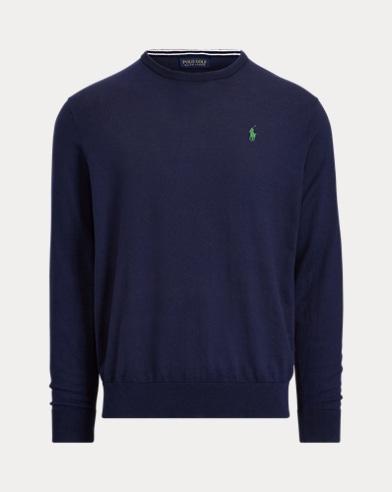 Cotton Crewneck Golf Sweater