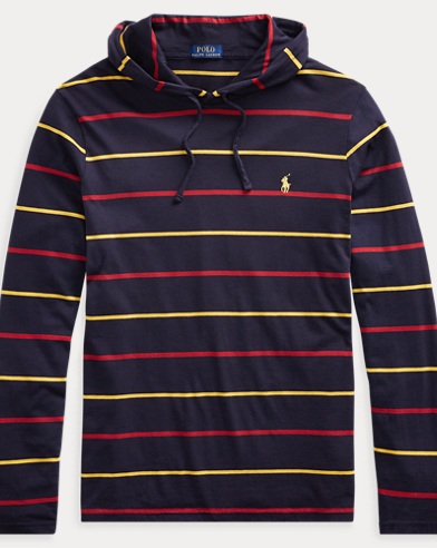 Striped Cotton Hooded T-Shirt