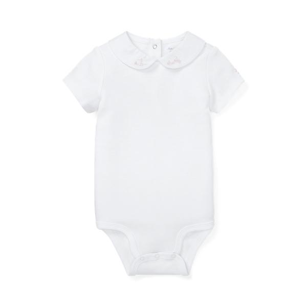 폴로 랄프로렌 Polo Ralph Lauren Embroidered Interlock Bodysuit,White