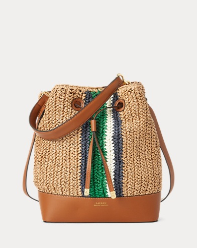 3c8747d78401b Straw Debby Drawstring Bag. Lauren