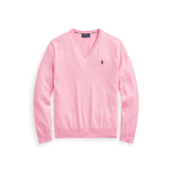 폴로 랄프로렌 맨 브이넥 스웨터 Polo Ralph Lauren Cotton V Neck Sweater,Miami Pink