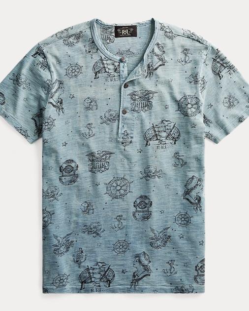 31c3e22ef21 RRL T-shirt à col tunisien graphique coton 1
