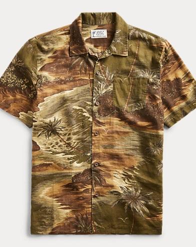 Linen-Blend Camp Shirt