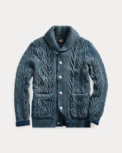 Indigo Aran Cotton Cardigan