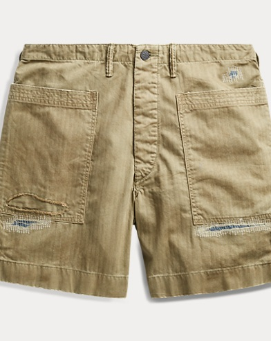 Twill-Shorts in Used-Optik