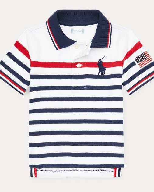 c248dfe5fc42b Baby Boy Striped Cotton Mesh Polo Shirt 1