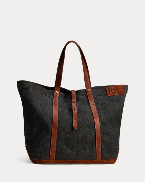 Leather-Trim Denim Tote