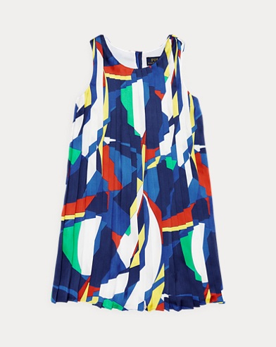 Sailboat Pleated Satin Dress