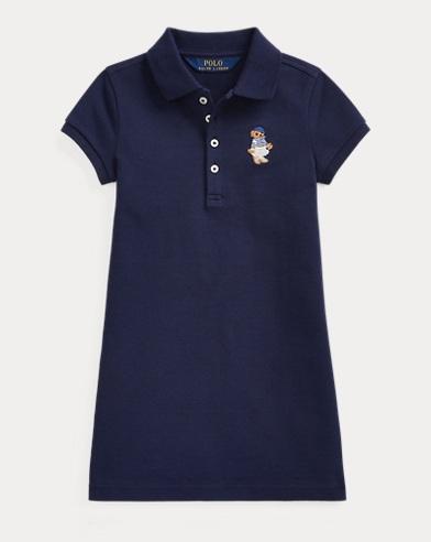 French Bear Mesh Polo Dress