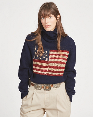Flag Wool Turtleneck Sweater