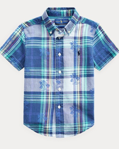 Palm Tree Cotton Madras Shirt