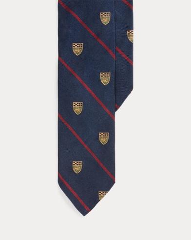 Lion-Crest Silk Narrow Tie