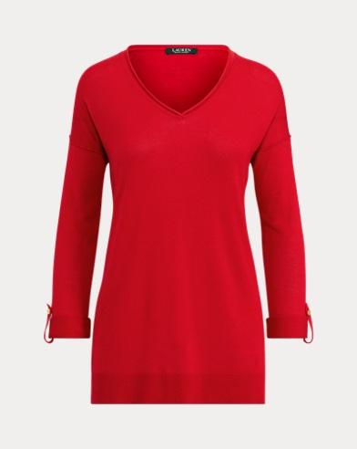 Tab-Sleeve Silk-Blend Sweater