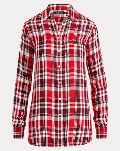 Plaid Twill Button-Down Shirt
