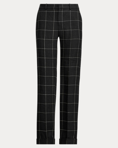 Windowpane Tweed Wide-Leg Pant