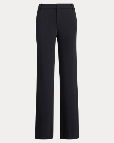 Satin-Trim Wide-Leg Twill Trouser