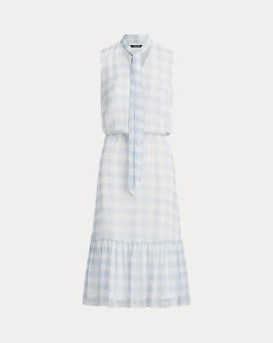 Gingham Tie-Neck Dress