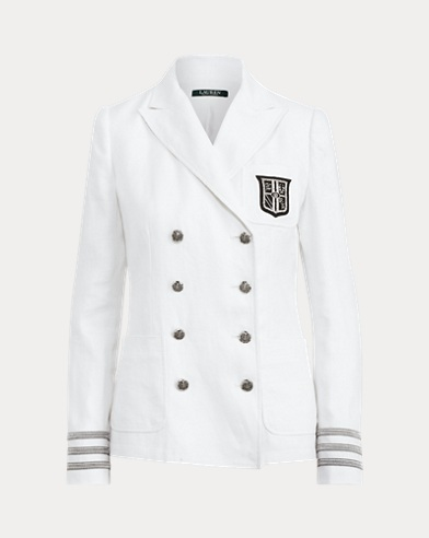 Bullion-Patch Linen Blazer