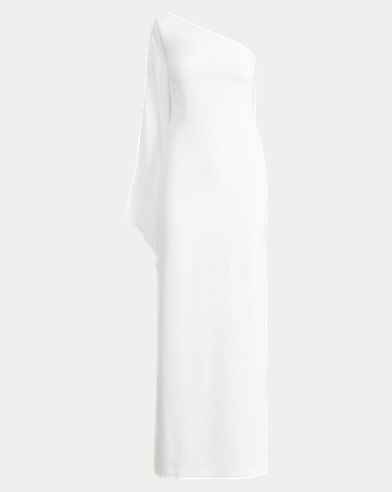 Cape One-Shoulder Gown