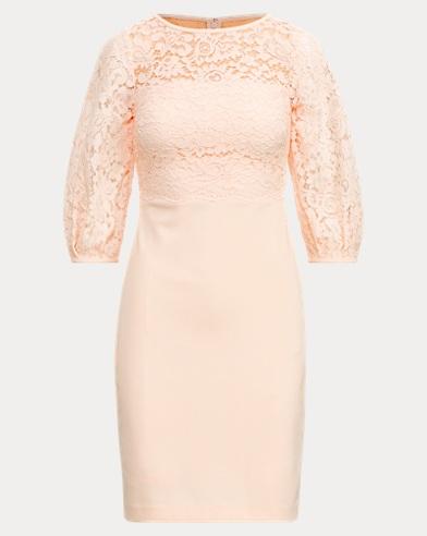 Lace-Trim Jersey Dress