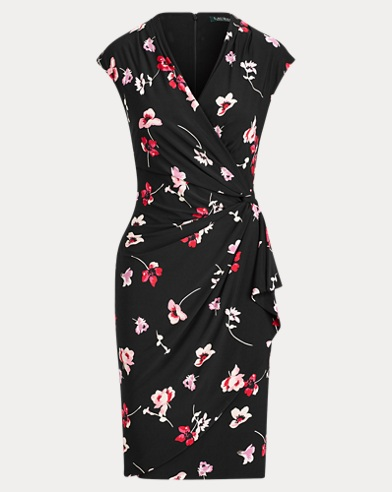 Floral Ruched Jersey Dress