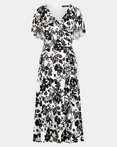 Belted Floral Jersey Dress