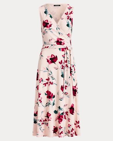 Vestido de estilo cruzado en punto con estampado de flores
