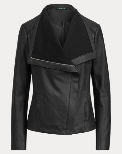 Leather Shawl-Collar Jacket