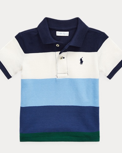 Striped Cotton Mesh Polo Shirt. Baby Boy