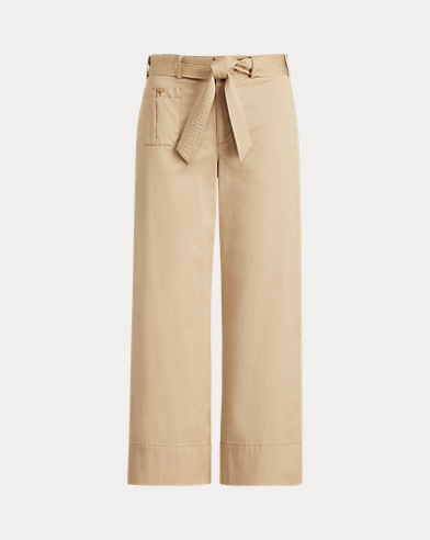 Belted Twill Wide-Leg Trouser