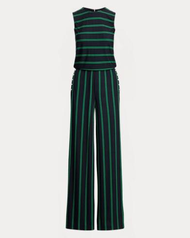 Striped Button-Trim Jumpsuit