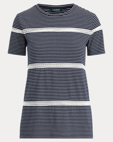 Lace-Trim Jersey Tee