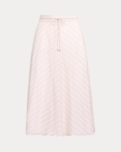 Mitred-Stripe Cotton Skirt
