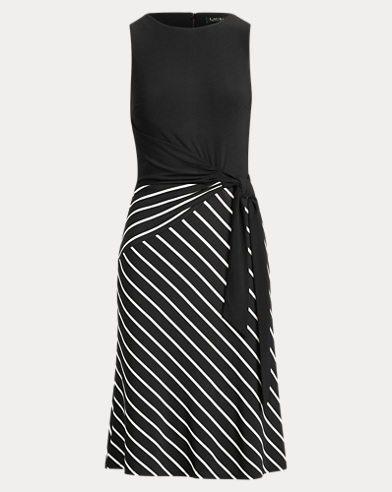 Striped-Skirt Sleeveless Dress