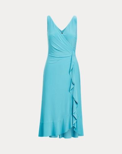 Gerafftes Kleid mit Rüschen