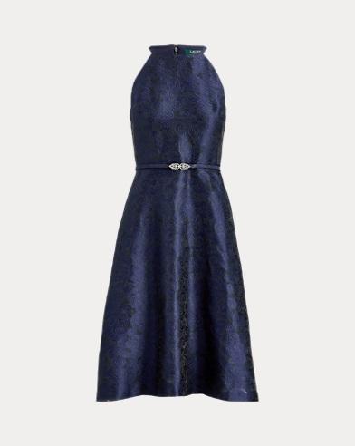 Jacquard-Knit Belted Dress