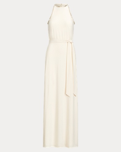 Beaded-Trim Jersey Gown
