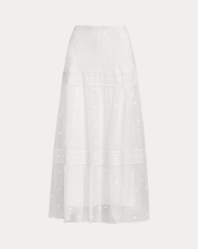 Lace-Trim Cotton-Blend Skirt