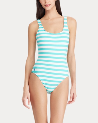 ca51ac45e6 Striped Lace-Up-Back One-Piece. Polo Ralph Lauren