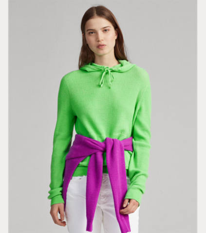 Ralph Lauren Cashmere Drawcord Hoodie (Optic Lime / Ultra Purple)