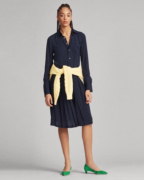 Polo Ralph Lauren Pleated Crepe Shirtdress 1