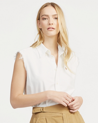 Frayed Sleeveless Oxford Shirt