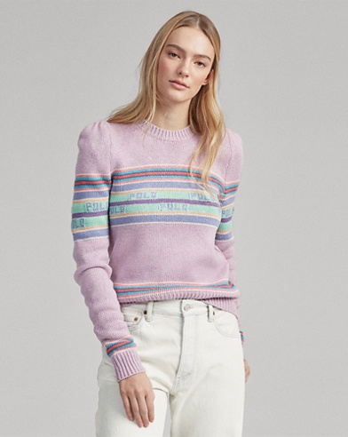 Puff-Sleeve Polo Sweater