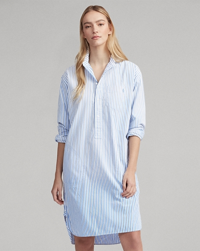 Striped Poplin Shirtdress