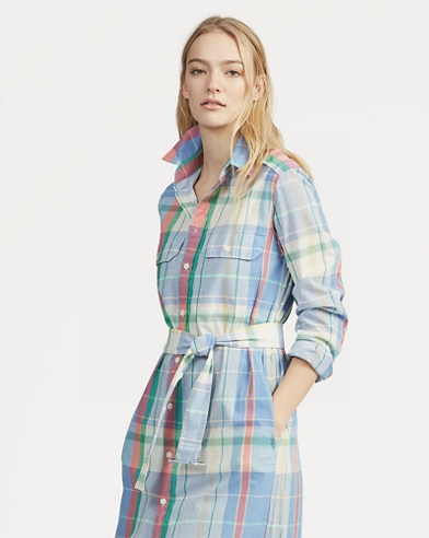 Cotton Madras Shirtdress
