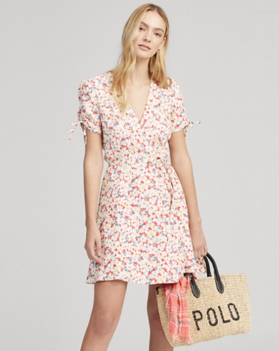 Floral Crepe Wrap Dress