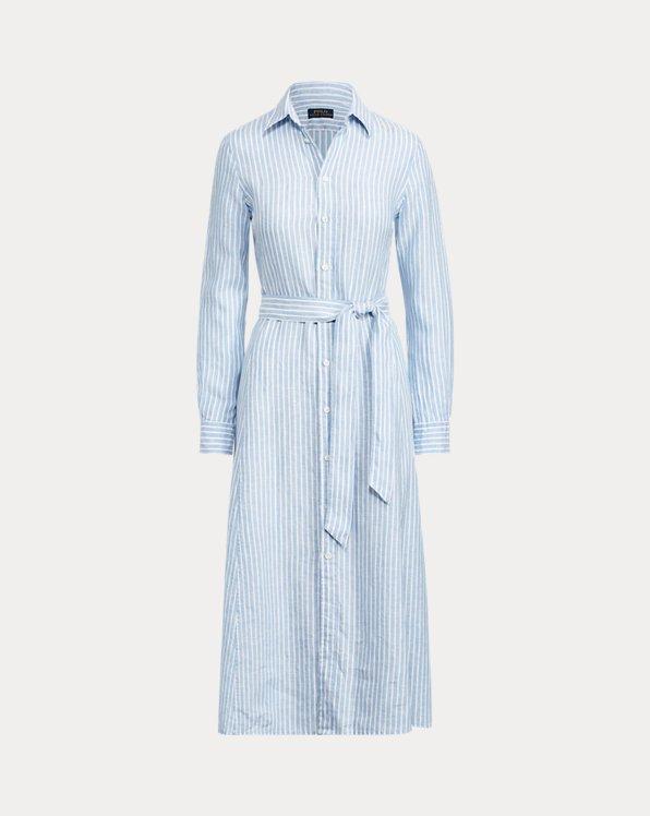 Streifen-Hemdkleid aus Leinen