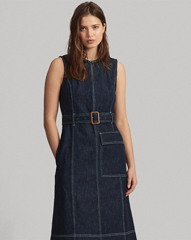 Denim Fit-and-Flare Dress