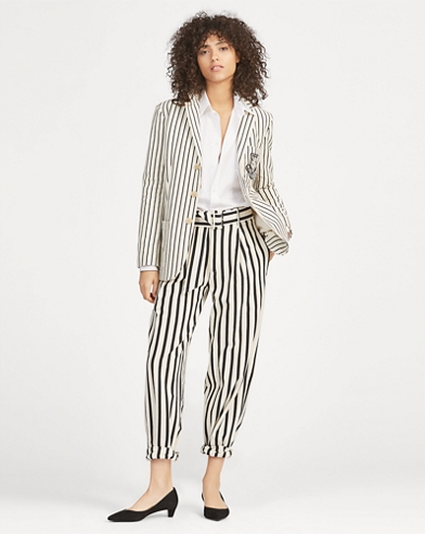Striped Cotton Wide-Leg Trouser