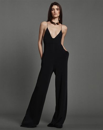 Knit V-Neck Wide-Leg Jumpsuit